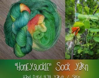 Hand Painted Indie Dyed Sock Yarn - Honeysuckle  - Merino / Bamboo / Nylon - fingering weight 434 yards 4oz - knitting crocheting weaving