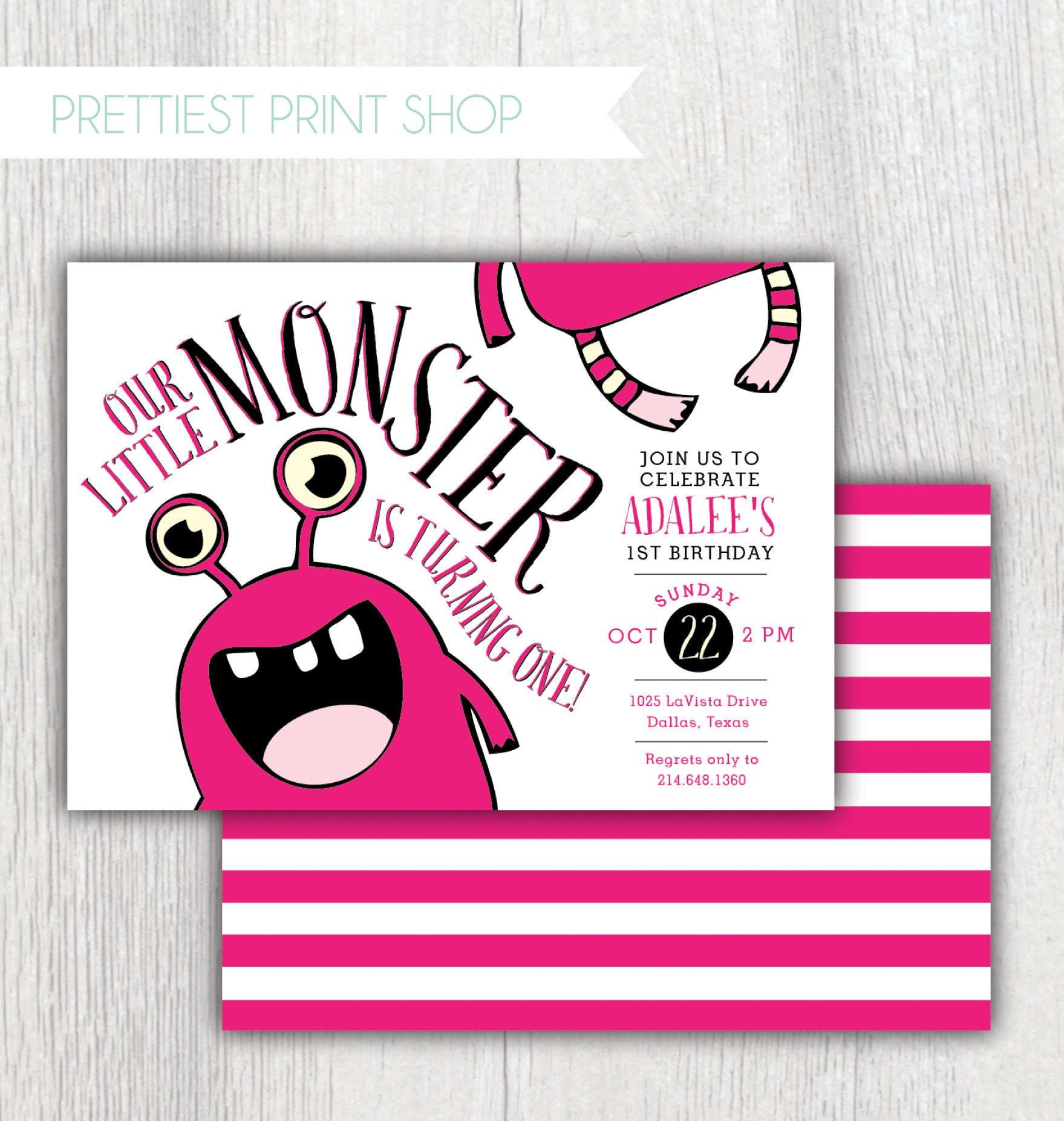 Printable Our Little Monster girl birthday invitation - Fall ...