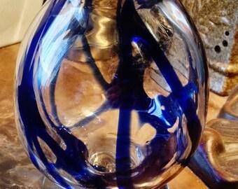 ON SALE - Vintage Sapphire Blue Swirls Hand Blown Glass Vase