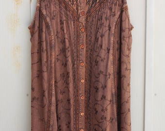 Brown Embroidered Dress - Plus Size Bohemian Dress - Vinatge Button Down Dress - 90s Grunge Dress - 1990s Boho Dress - Hippie Dress - Indie
