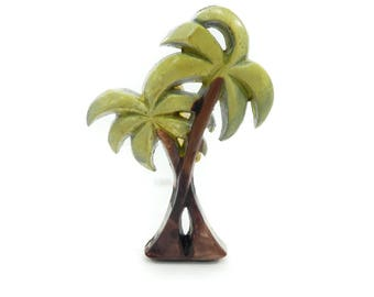 Vintage Palm Tree Brooch, Early Plastic