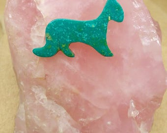 Medium Green Turquoise Cougar Cabochon/ backed