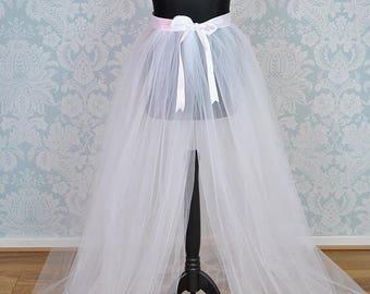 Detachable Tulle Skirt, Bridal Overskirt, Tulle Overskirt, Bridal Train, Adult Tutu Skirt, White Tulle Skirt, Tulle Train, Tulle Overskirt