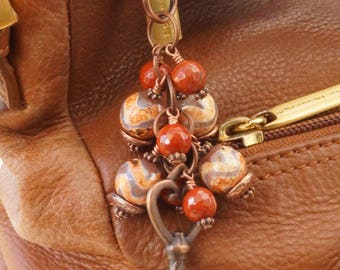 Gemstone bag charm, red jasper bag charm, patterned agate bag charm, copper bag charm, key bag charm, brown bag charm, copper key charm
