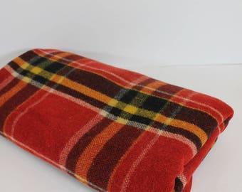 "Vintage 1950's  MERRILL Woolen MILLS Wisconsin Tartan Plaid Lodge Camping Cabin Rustic Wool Blanket 58"" x 70"""