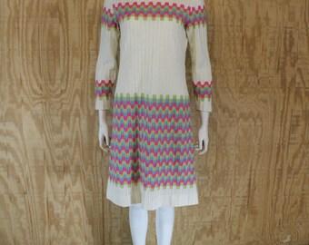 Vintage 1960's RANELLE FASHIONS Turtle Neck Sweater Knit A Line Midi Dress