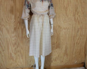 Vintage 1970's JERELL of TEXAS Floral Print Peasant Dress Medium Large M / L