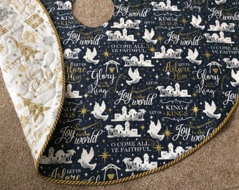 Blue and White Christmas Tree Skirt - reversible elegant quilted tree skirt, blue, white, gold, silver