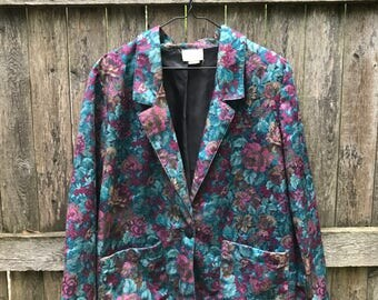 90s Floral Oversized Blazer