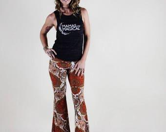 PAISLEY  VELVET 70's velour free people janis joplin hippie chic boho dance festival burning man gypsy flare bell bottom pants (or leggings)