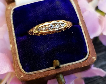 Antique Edwardian 18ct Yellow Gold 5 Diamond Boat Half Eternity Ring Size R 1/2