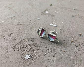 Geometry stud earrings in purple and blue colors by CuteBirdie