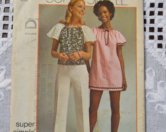 Simplicity 5468 Sewing Pattern Misses Simple Mini Dress Top Size Large 16 18 DIY Vintage Clothing Fashion Sewing Crafts PanchosPorch