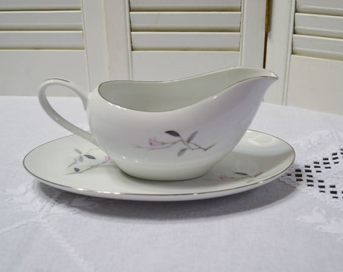 Vintage Cherry Blossom Gravy Boat with Drip Plate Fine China Japan Replacement PanchosPorch
