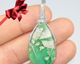 Variscite necklace, Silver wrapped necklace, Variscite jewelry, Wire wrapped gemstone, Gift for my wife, Anniversary gifts for girlfriend