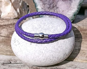 Purple Pandora-style leather wrap charm bracelet. Double wrap braided leather.Magnetic clasp. Fits Pandora, Thomas sabo and European charms.