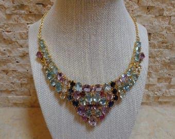 Blue Topaz, Kyanite, Amethyst and Ruby bib necklace in 18K Gold Vermeil, 16 inch