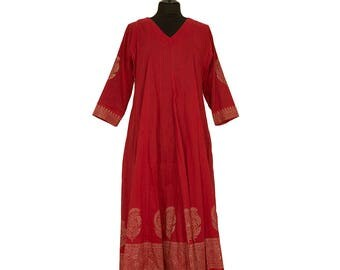 DRESS - All sizes - Deep red with gold border - 100% cotton