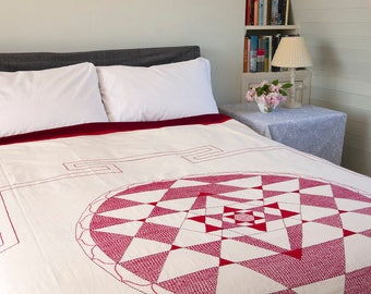 EMBROIDERED BEDSPREAD - Handstitched Bengali Bedspread – Burgundy Red