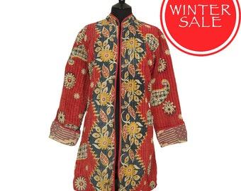 WINTER SALE - X Large size - Long Kantha Jacket - Red and Black. Reverse Light Aubergine and Beige.