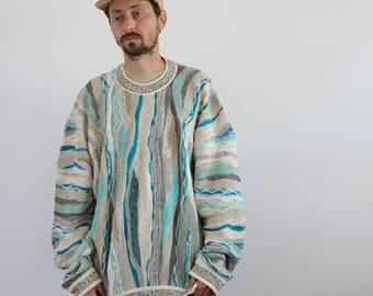 Coogi Teal Beige Sweater Men's XL