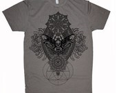 Men's IMPERMANENCE Mandala T-Shirt Psychedelic Dotwork Sacred Geometry Symmetry Death Moth Tee