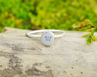 Sterling Silver Stacking Ring with Custom Initial • Handstamped Stack Rings • Personalized Sterling Rings