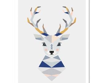 Deer Head wall art, kidsroom art, nursery art, nursery print, kids art,boysroom art,kids wallart,scandinavian art,scandi kids art,stag head.