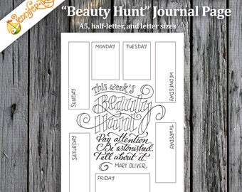 beauty hunt bullet journal planner insert printable pdf instant download mary oliver quote