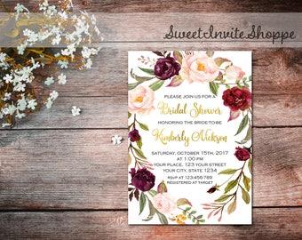 Bridal Shower Invitation, Marsala Wreath Invitation, Boho Floral Bridal Shower Invitation, Floral Shower Invitation, Floral Bridal Invites