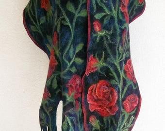 Felted Scarf Nunofelt scarf Roses Scarf Art Wrap Red Roses Scarf Art Shawl Nuno felt Artistic Scarves wearable art Fiber Art Red Black Green