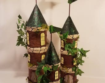 SISTER TOWERS of the Fairy Forest, 3pc set of woodland towers for all of the fairy sisters, brown, green tan, fantasy, handmade, unique