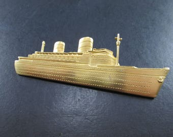 Vintage Large JJ Gold Tn Cruise Ship Boat Brooch Pin Signed