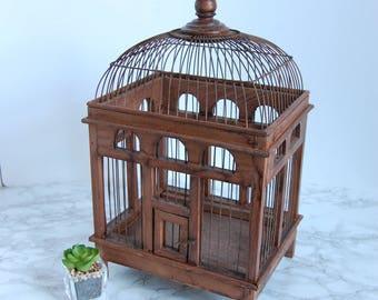 Vinatge Wire and Wood Bird Cage Birdcage - Antique Birdcage - Boho French Apartment Decor