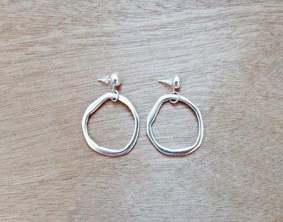 Silver Moon Boho Hoop Earrings • Silver plated brass • Dangle and drop handmade earrings • Stad closure  • Cast Silver Earrings