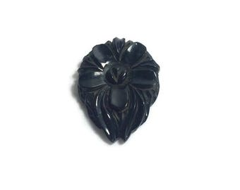 Black Bakelite Dress Clip, Carved Bakelite Flower, Dress Clip, Vintage 1940s, Costume Jewelry