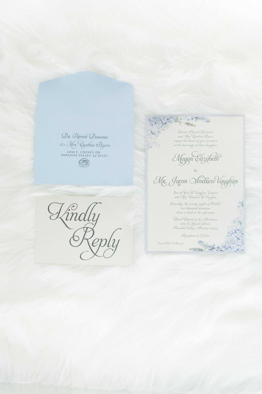 Formal Elegant Grey Silver Light Blue Hydrangea Wedding Invitation ...