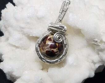 Jasper Necklace, Silver Wire Jewelry, Jasper Pendant, Dainty Necklace, Stone Necklace, Wire Wrap, Brecciated Jasper, Wire Wrapped Jewelry