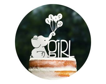 Cute Its A Girl Cake Topper, Elephant Baby Shower, Elephant Cake Topper, It's a Girl Sign, Baby Sprinkle Decor, Gender Reveal Topper (T396)