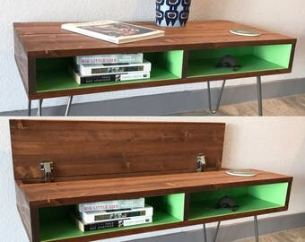 lift top coffee table mid century modern hidden storage media cabinet tv