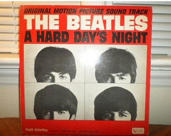 Save 30% Today Vintage 1964 LP Record The Beatles A Hard Days Night United Artists Mono Version Very Good Condition 12744
