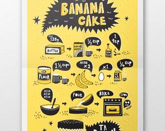 Banana Cake Recipe Tea Towel