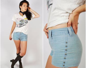 1970's Shorts - 70's Denim Hot Pants - Studded Denim Shorts - Size Small