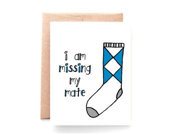 I Miss You Card - Long Distance Relationship - Deployment Card - Thinking of You Cards - Miss You Card - Missing My Mate