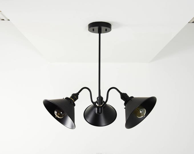 All Matte Black Modern Chandelier 3 Arm Bulb with Cone Shades Sputnik Mid Century Industrial Light UL Listed