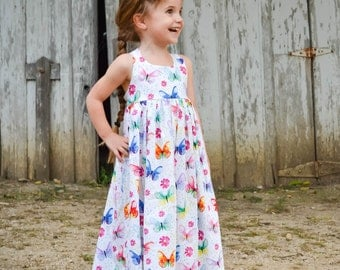 Toddler Maxi Dress - Girls Maxi Dress - Butterfly Dress - Girls Long Dress - Toddler Sundress - Toddler Girl Clothes - Toddler Outfits