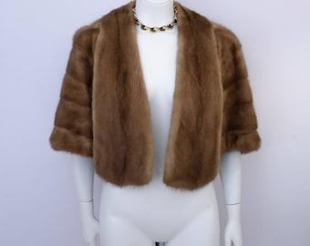 Fur Capelet, Fur Shawl, Fur Wrap. Brown, unique design. Size small. Gorgeous! Bridal, evening, special occasion. Pockets too!!