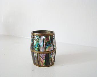 Vintage Mexico 1960's Abalone Seashell Toothpick Holder Mother Of Pearl Shell Barrel Silver Brass Toothpick Match Holder