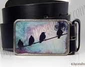 Black Birds On A Wire Belt Buckle Choice of Buckle Finish Bird Buckle Womens Mens Belts Unique Birthday or Anniversary Gifts