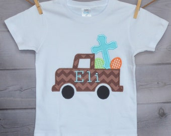 Personalized Easter Truck with Eggs and Cross Applique Shirt or Onesie Girl or Boy